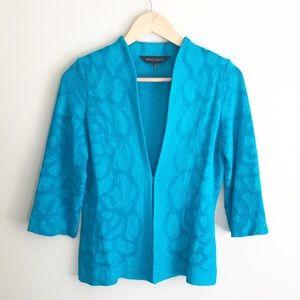 Ming Wang Blue Rose Cardigan Jacket Cerulean Sz S